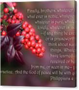 Nandina Berries Phil.4 V 8-9 Canvas Print