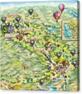Napa Valley Illustrated Map Canvas Print