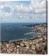 Naples Italy Aerial Perspective - Coastal Beauty Of Mergellina, Posillipo And Marechiaro Canvas Print