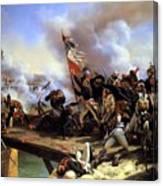 Napoleon Bonaparte Leading His Troops Over The Bridge Canvas Print