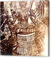 Illuminated Narasimha Dev In Sepia Canvas Print