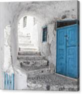 Narrow Alley And Stairway On Santorini Canvas Print