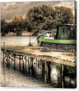 Narrow Boat And Jetty Canvas Print