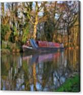 Narrow Boat On Wey Navigation - P4a16008 Canvas Print