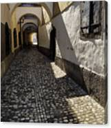 Narrow Cobblestone Alley Ribji Trg Or Fish Square From Cankar Qu Canvas Print