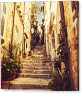 Narrow Street In Old Town Dubrovnik Canvas Print