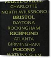 Nascar Track List Canvas Print