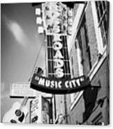 nashville crossroads music city ernest tubbs record shop on broadway downtown Nashville Tennessee US Canvas Print