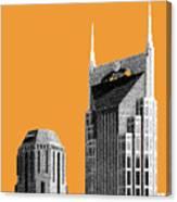 Nashville Skyline At And T Batman Building - Orange Canvas Print