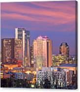 Nashville Skyline At Dusk 2018 Panorama Color Canvas Print