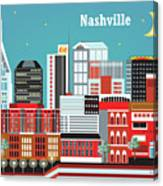 Nashville Tennessee Horizontal Skyline Canvas Print