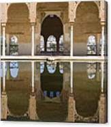 Nasrid Palace Arches Reflection At The Alhambra Granada Canvas Print