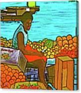 Nassau Fruit Seller At Waterside Canvas Print