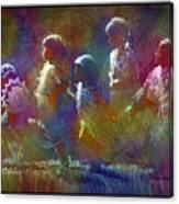 Native American - 5 Girls Dancing In The Moonlight Canvas Print
