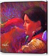 Native American - Boy Dancer Resting Canvas Print