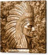 Native American Statue Copper  Canvas Print