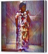 Native American - Young Girl Standing In Doorway Canvas Print