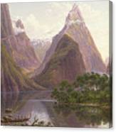 Native Figures In A Canoe At Milford Sound Canvas Print