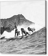 Native Hawaiians Surfing Canvas Print