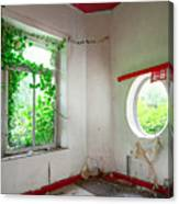 Nature Takes Over Oval Window -urbex Canvas Print