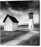 Nauset Light - Black And White Lighthouse Canvas Print