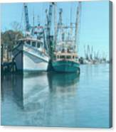 Nautical Aquas At The Harbor Canvas Print