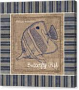 Nautical Stripes Butterfly Fish Canvas Print