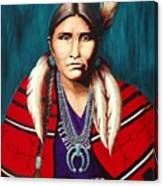 Navajo Woman In Red Canvas Print