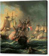 Naval Combat Between The Rights Of Man And The English Vessel Indefatigable And The Frigate Amazon Canvas Print