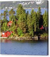 Navigating The Hjeltefjorden In Hordaland Canvas Print