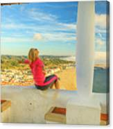 Nazare Viewpoint Woman Canvas Print