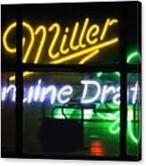 Neon Miller Beer Canvas Print