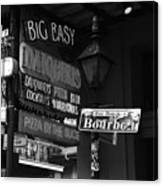 Neon Sign On Bourbon Street Corner French Quarter New Orleans Black And White Canvas Print