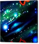 Neon Stars, Green Galaxy And Ufo Canvas Print
