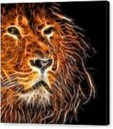 Neon Strong Proud Lion On Black Canvas Print