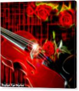 Neons Violin With Roses Canvas Print