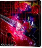 Neons Violin With Roses With Space Effect Canvas Print