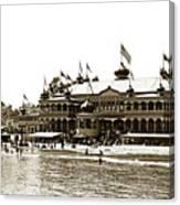 Neptune Casino And Onion-domed Bandstand, Santa Cruz Beach Circa 1904 Canvas Print