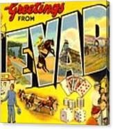 Nevada Postcard Canvas Print