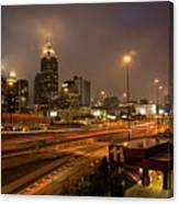 Never Sleeping Atlanta In Motion Midtown Light Trails Art Canvas Print
