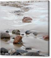 New England Beach With Rocks And Waves Canvas Print