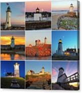 New England Lighthouse Collage Canvas Print