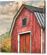 New England Red Barn Pencil Canvas Print