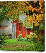 New England Rustic - New England Fall Landscape Red Barn Canvas Print