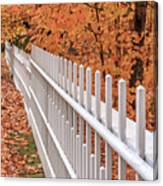New England White Picket Fence With Fall Foliage Canvas Print