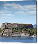 new fortress and port Corfu town Greece Canvas Print