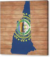 New Hampshire Rustic Map On Wood Canvas Print