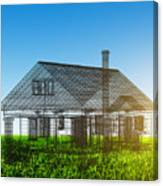 New House Wireframe Project On Green Field Canvas Print