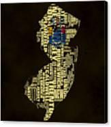 New Jersey Typographic Map 02 Canvas Print