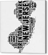 New Jersey Word Cloud 2 Canvas Print